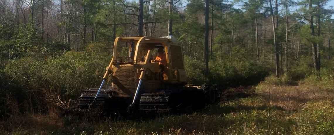 Blading a fireline with a D6D LGP Cat Bulldozer